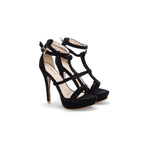 954769e929 Yoins Black Open Toe Strappy Platform Velvet High Heels ($40) ❤ liked on Polyvore  featuring shoes, sandals, platform sandals, strappy sandals, velvet ...