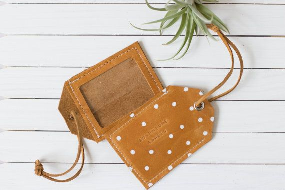 Brown Leather Polka Dot Luggage Travel Tag by ShopAlwaysRooney