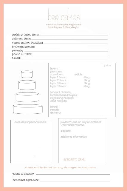Bakery Order Form Template Software Free Invoice Cake On