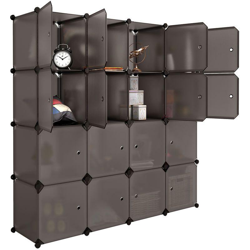 16 Cubes Armoire Penderie Portes Meuble Modulable Rangement Pour Salon Chambre Salle De Bains Marron Langria 223244201 Zj Cube Storage Shelves Modular Storage Closet System