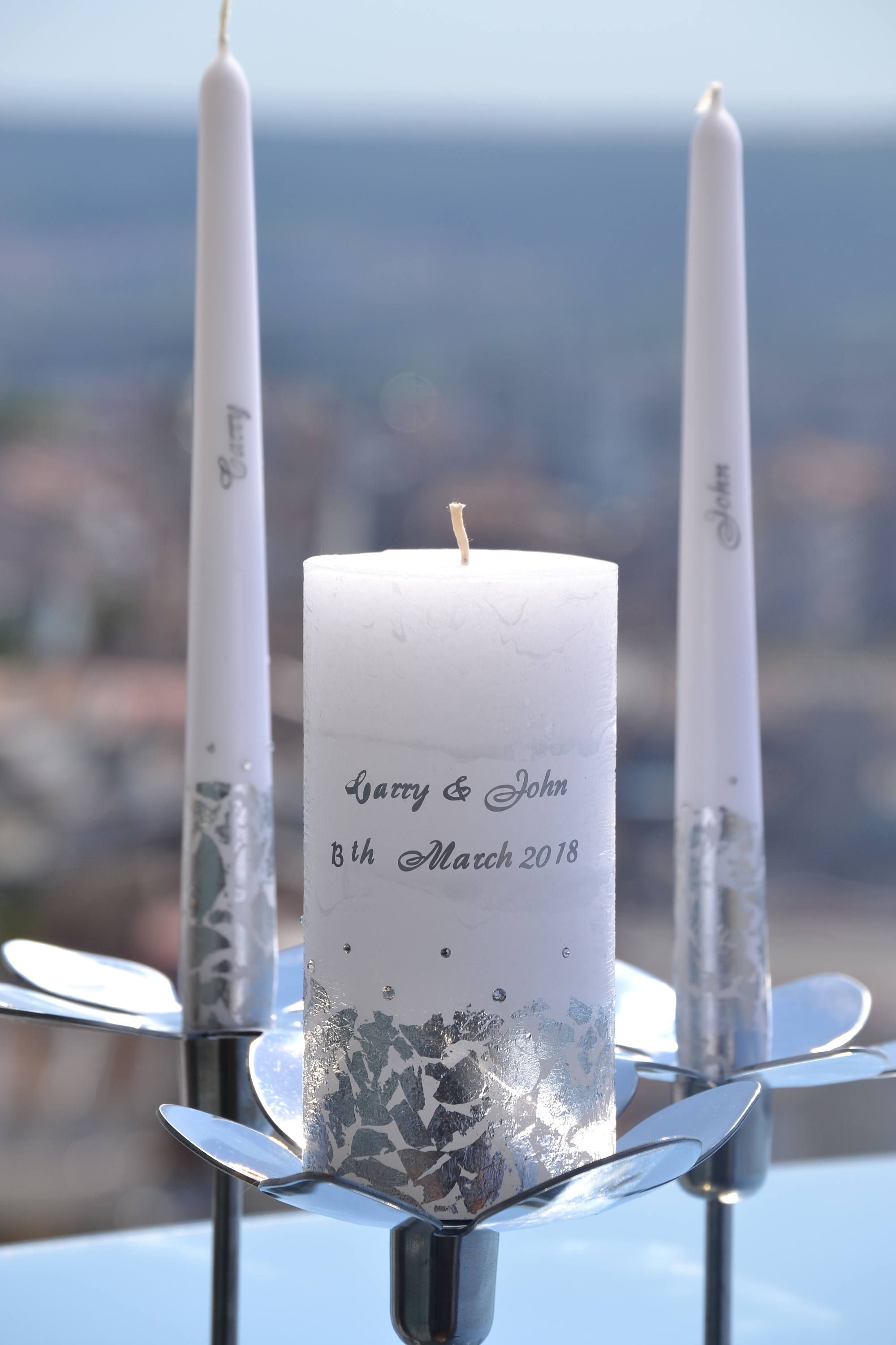Wedding Candle Set Personalized Unity Custom Candles Silver
