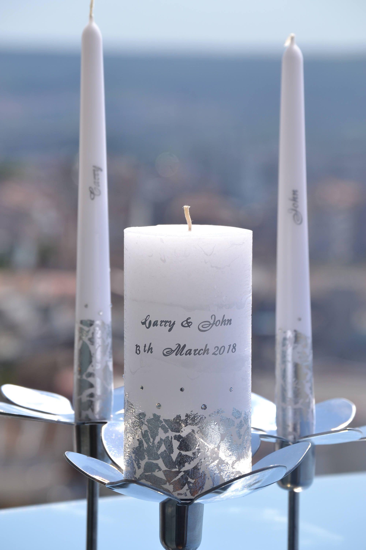Wedding Candle Set Personalized Wedding Unity Candle Custom Wedding Candles Silver Candle Set Sil Wedding Candles Custom Wedding Candles Wedding Candle Set