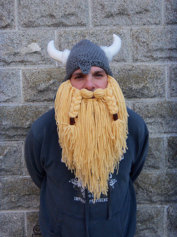 Viking hat/ viking helmet with full beard. $50.00, via Etsy ...