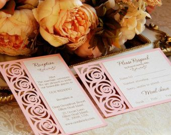 Wedding invitation Pattern Card 66 Template Roses Lace folds