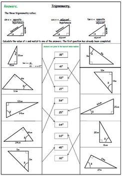 Practice Worksheet Right Triangle Trigonometry Answer Key