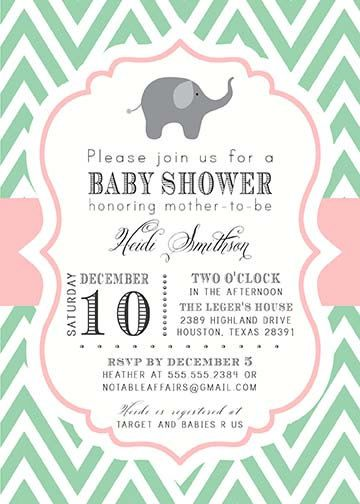 customized baby shower party package design: mint light pink, Baby shower invitations