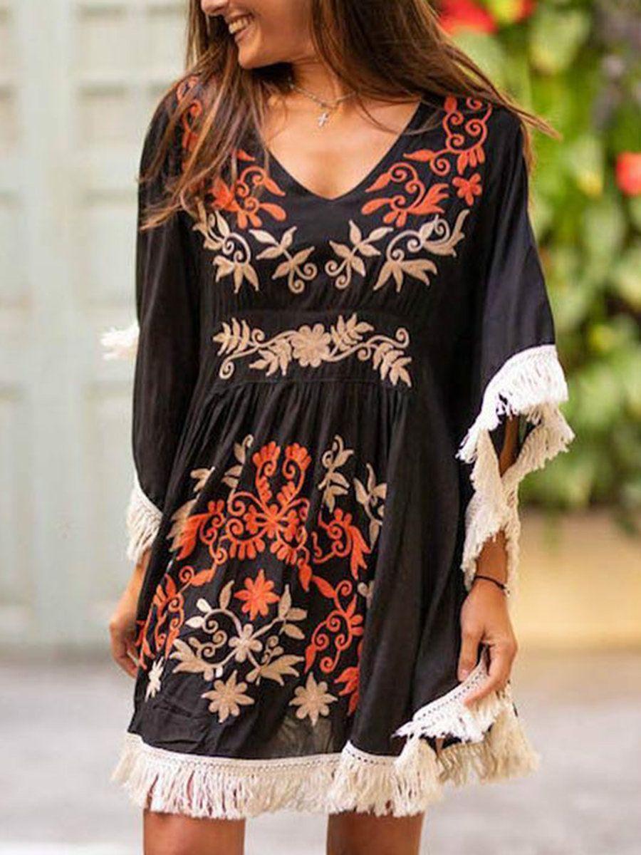 Summer Dresses Boho Dresses Holiday V Neck 3 4 Sleeve Boho Floral Print Dresses Justfashionn Summer Dresses For Women Embroidered Top Dress Floral Dress Summer [ 1200 x 900 Pixel ]