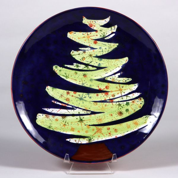 Wax Resist Is A Fun Way To Create A Mayco Christmas Tree Plate Pottery Painting Designs Pottery Painting Ceramic Christmas Decorations