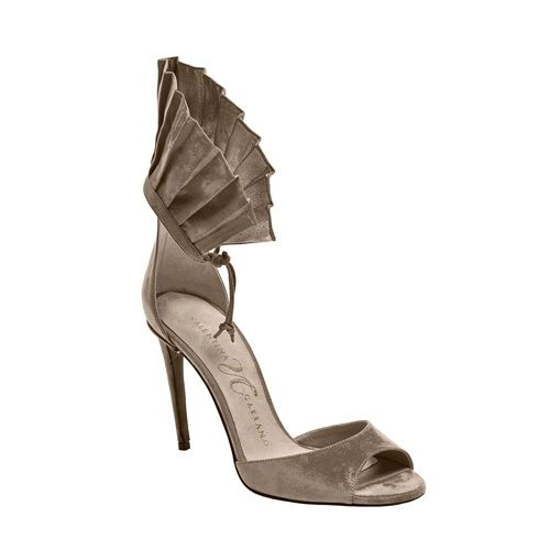 Valentina Carrano | Mathilde Sandal | Tinkertailor.com 100 Mm Heel Ruffle Ankle Wrap. Materials: 100% tumbled nappa leather