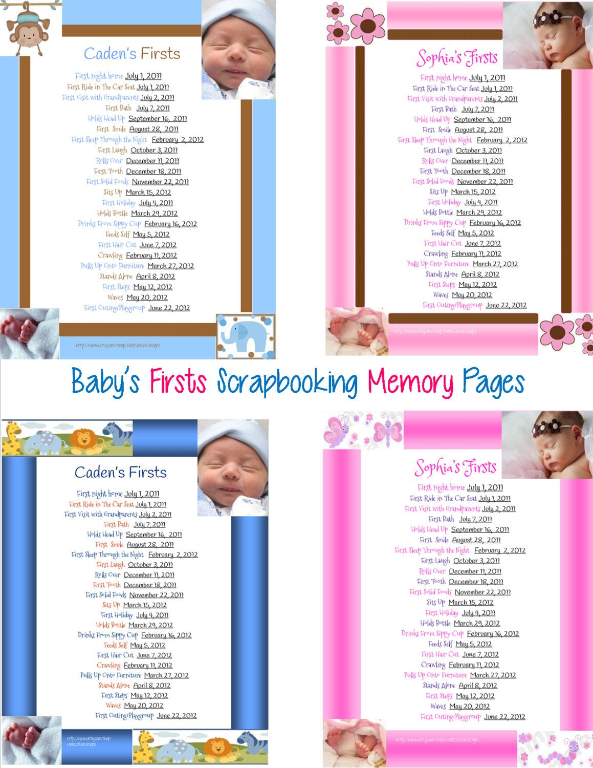 Scrapbook ideas baby milestones - Printable Scrapbook Baby S Firsts Page Memory By Melissabeedesigns