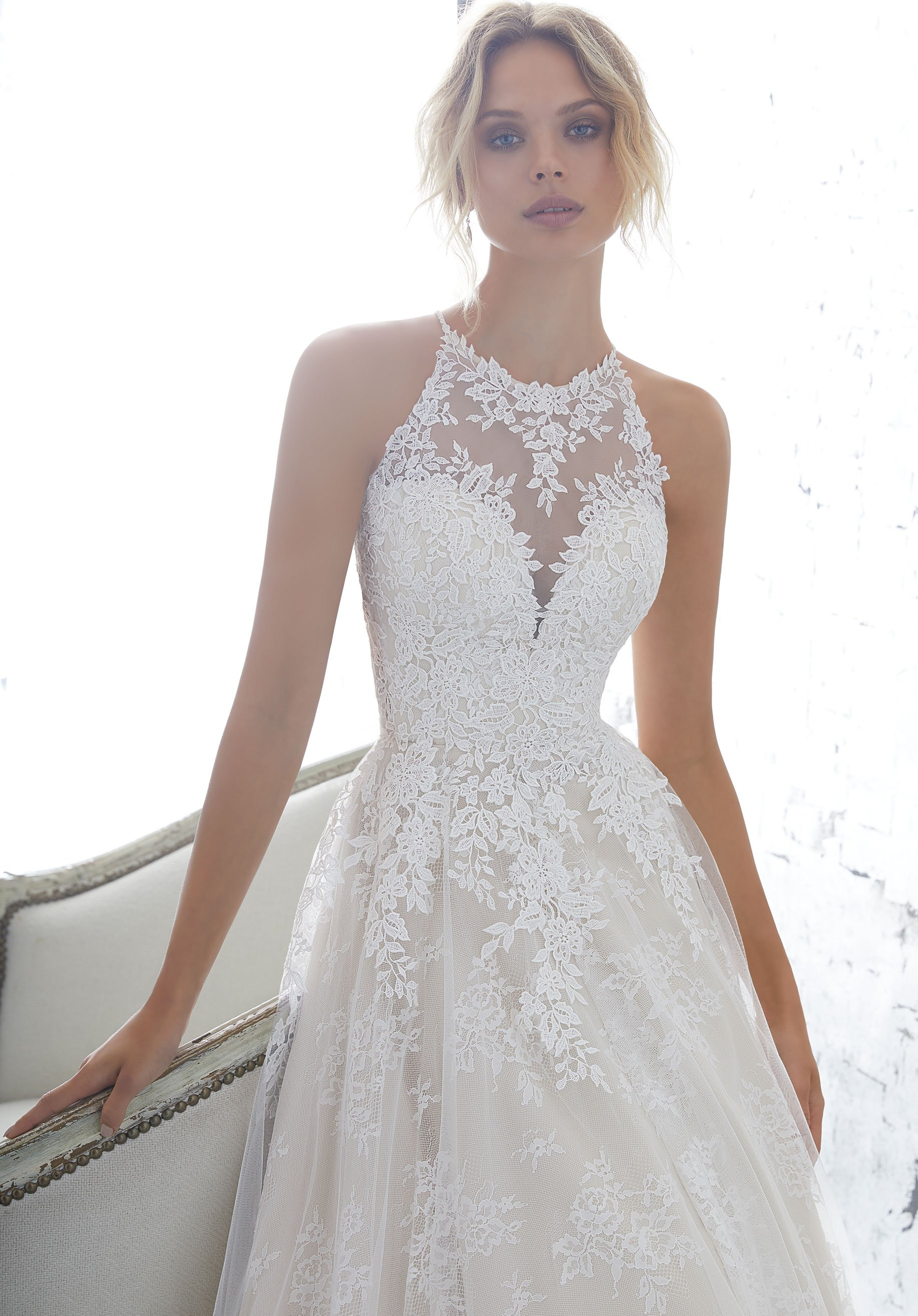 Af Couture By Morilee 1702 Kayleigh Lace Halter Ball Gown Wedding Dres Off White Backless Wedding Dress Wedding Dresses Lace Wedding Dresses