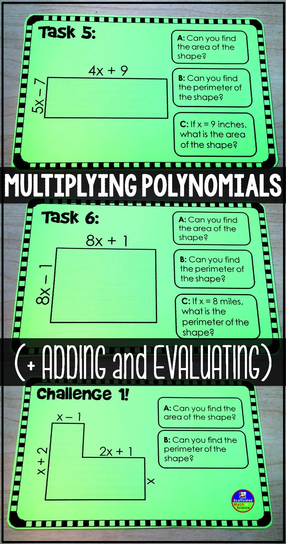 Multiplying Polynomials Task Cards | Let's Get Quizzical ...