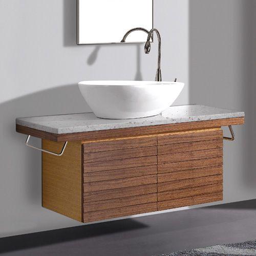"Wall Mounted Under Sink Bathroom Storage Cabinet Portland: 48"" Thai Teak Selwyn Wall Mount Vanity Cabinet With Vessel"