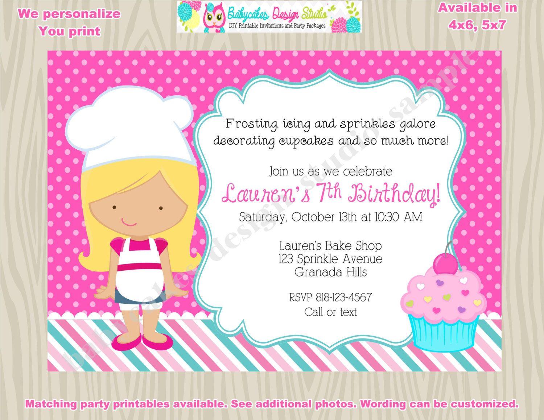 Little Chef Cupcake decorating party invitation cupcake birthday ...