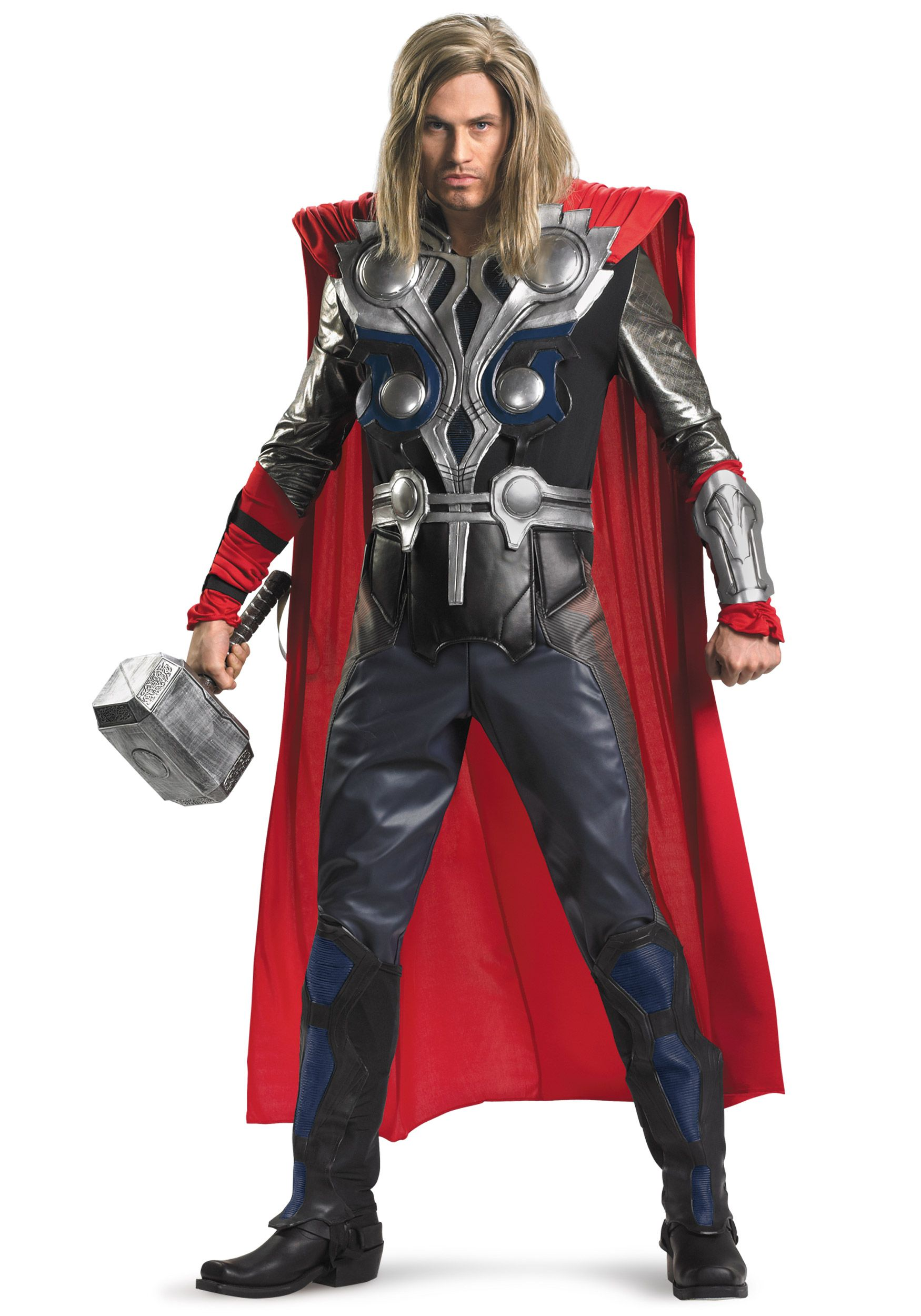 Mans Official Super Hero Marvel Thor  Costume Fancy Dress Cosplay Size Xl