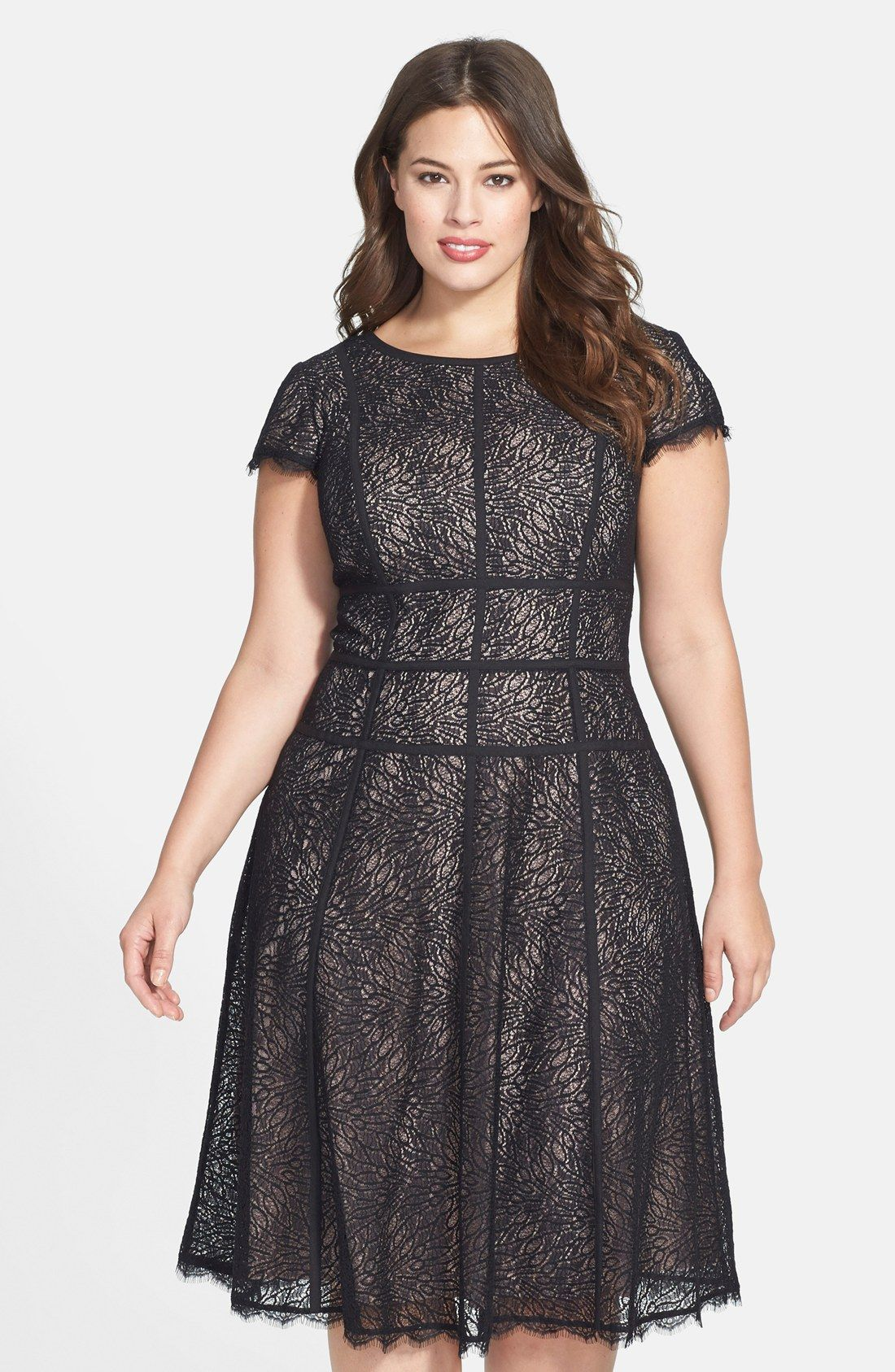 45f17bf704e Christmas party dress Free shipping and returns on Adrianna Papell   Converging  Banded Lace Dress (Plus Size) at Nordstrom.com. Bands of  contrast trim trace ...