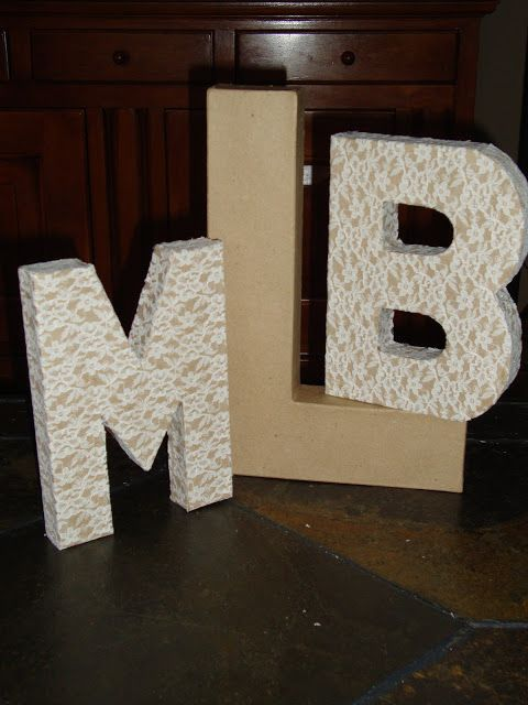 Mod Podge lace onto cardboard monogram letters