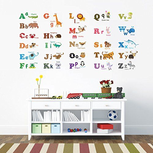 Decowall Da1308l Alphabet Abc And Animals Kids Wall Decals Wall