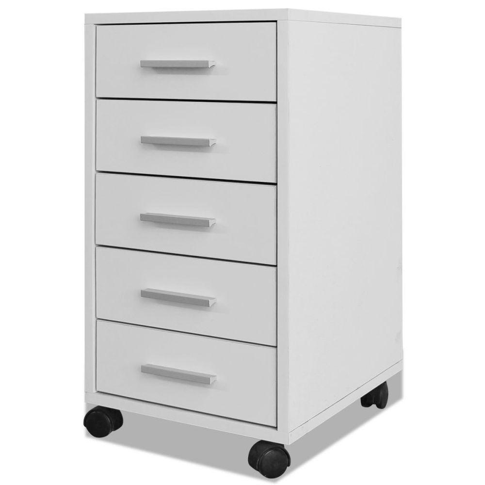 White Desk Drawer Filling Cabinet Office Drawer Unit W Castors Wheels  Storage Uk