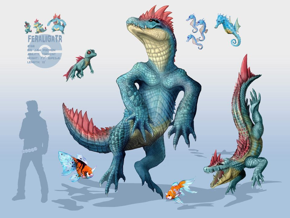 Totodile Croconaw and Feraligatr by bodzi0x.deviantart.com on @deviantART |  Art Love | Pinterest | deviantART, Pokémon and Pokemon realistic