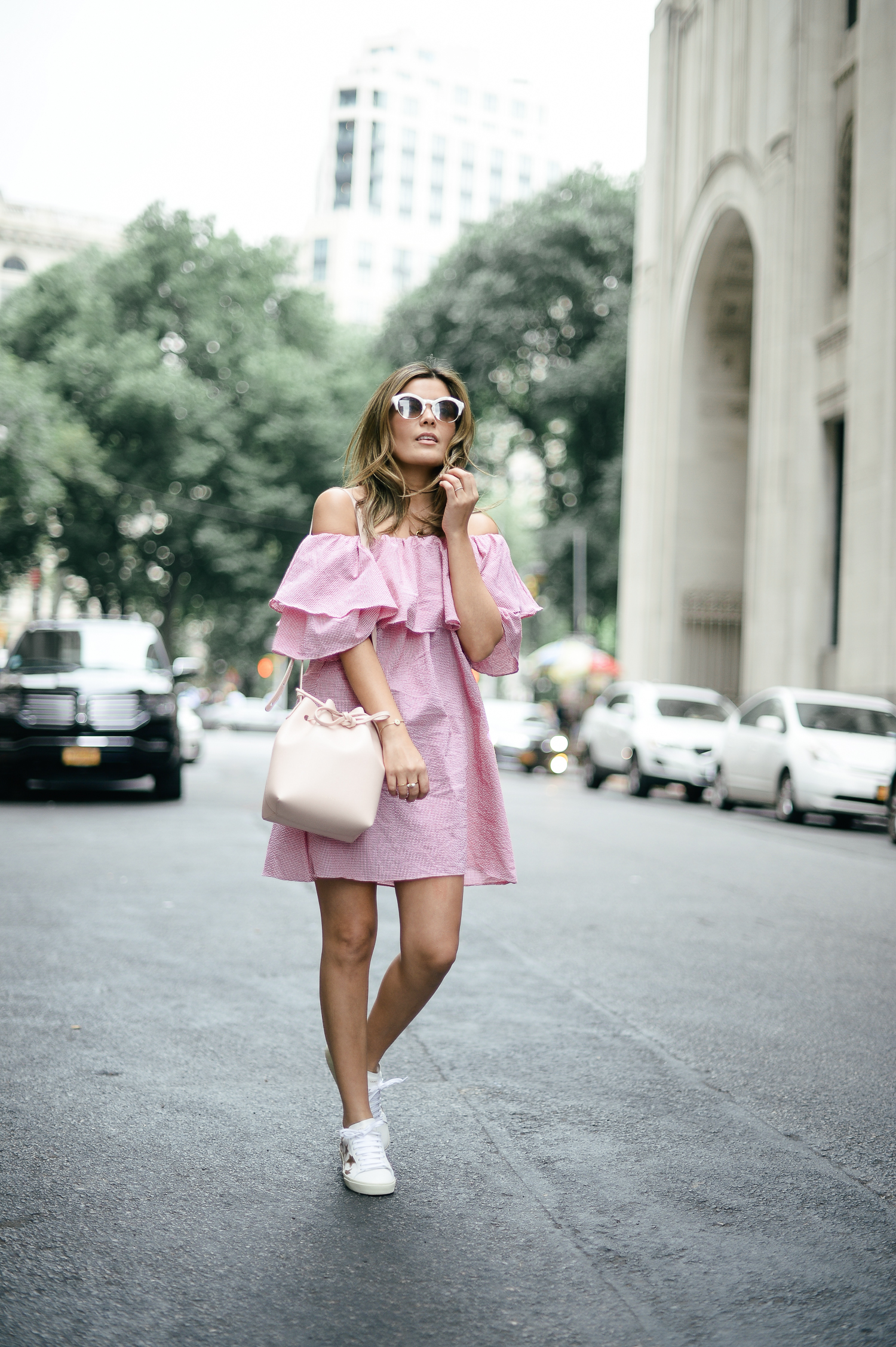 In Defense Of Off The Shoulder Tops Street Style Chic Fashion Gingham Ruffle Dress [ 2254 x 1500 Pixel ]