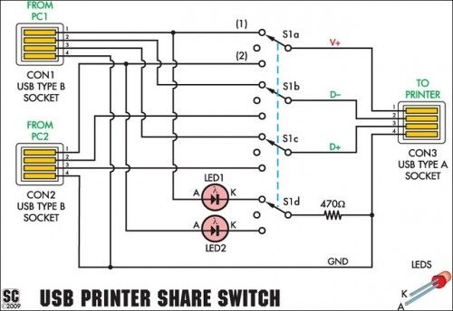 USB Printer Share Switch Circuit Diagram Project The Circuit - Circuit Diagram Usb