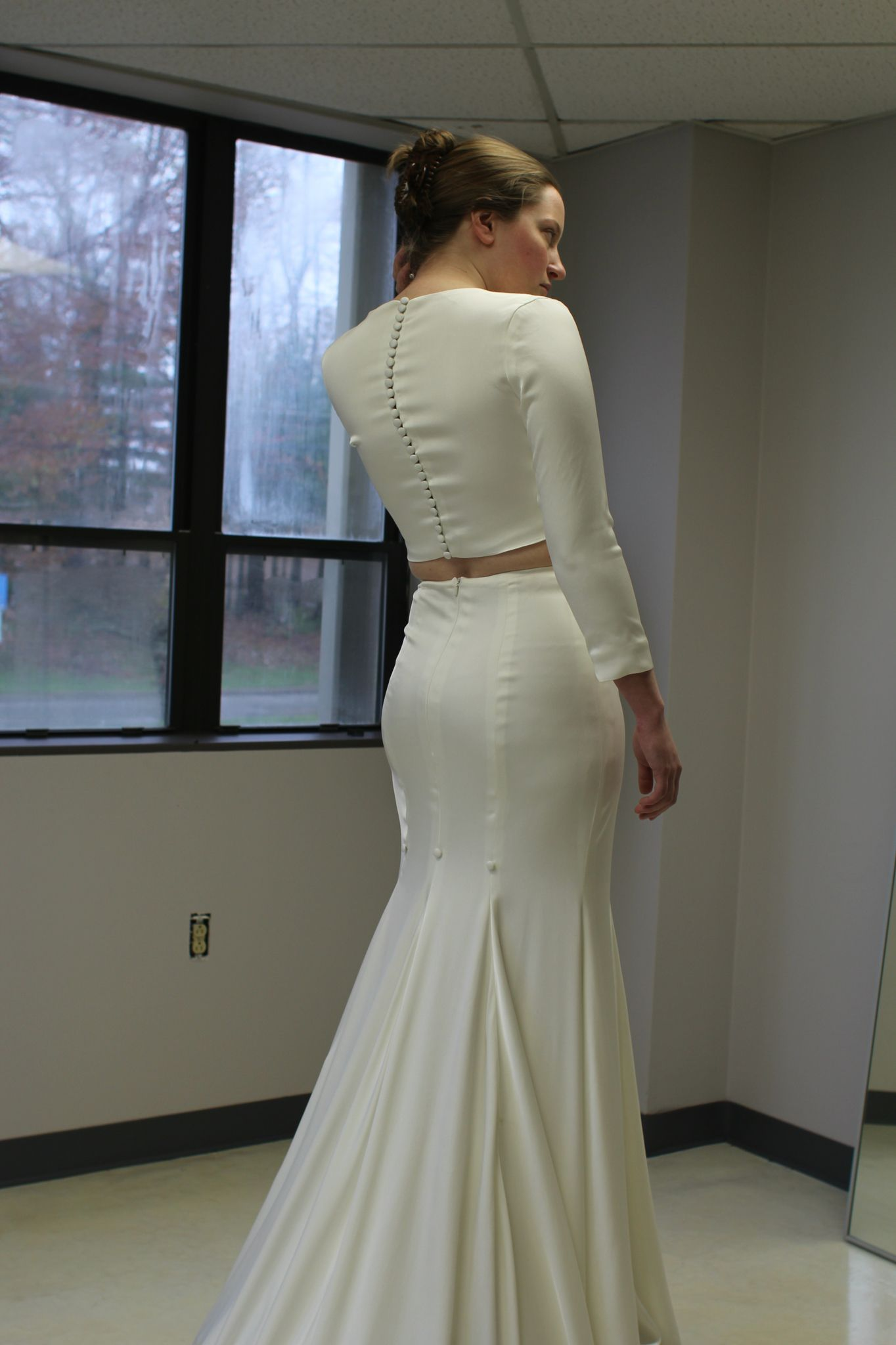 Michelle O'Malley custom wedding dress fitting