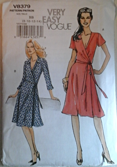 Vogue V8379 Misses\' Very Easy Front Wrap Style Dress Size BB (8-14)