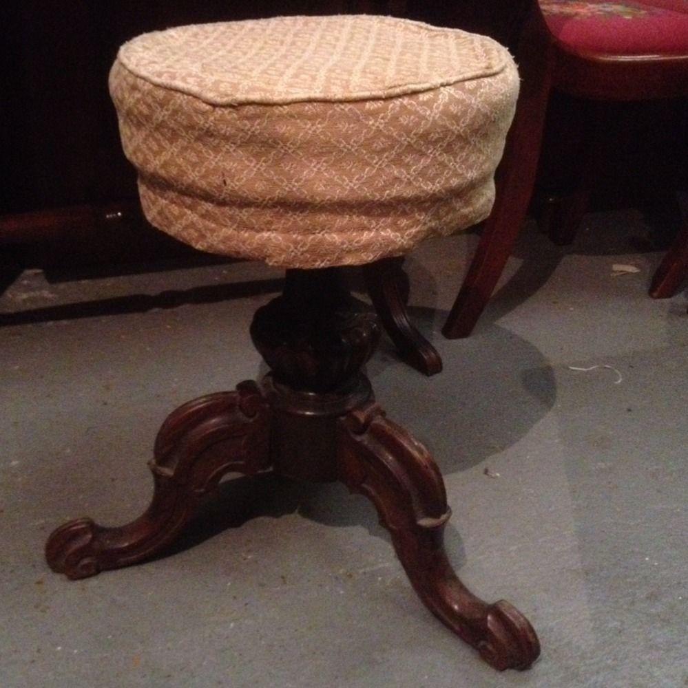 79 00 Antique Victorian Round Piano Stool Walnut Revolving The