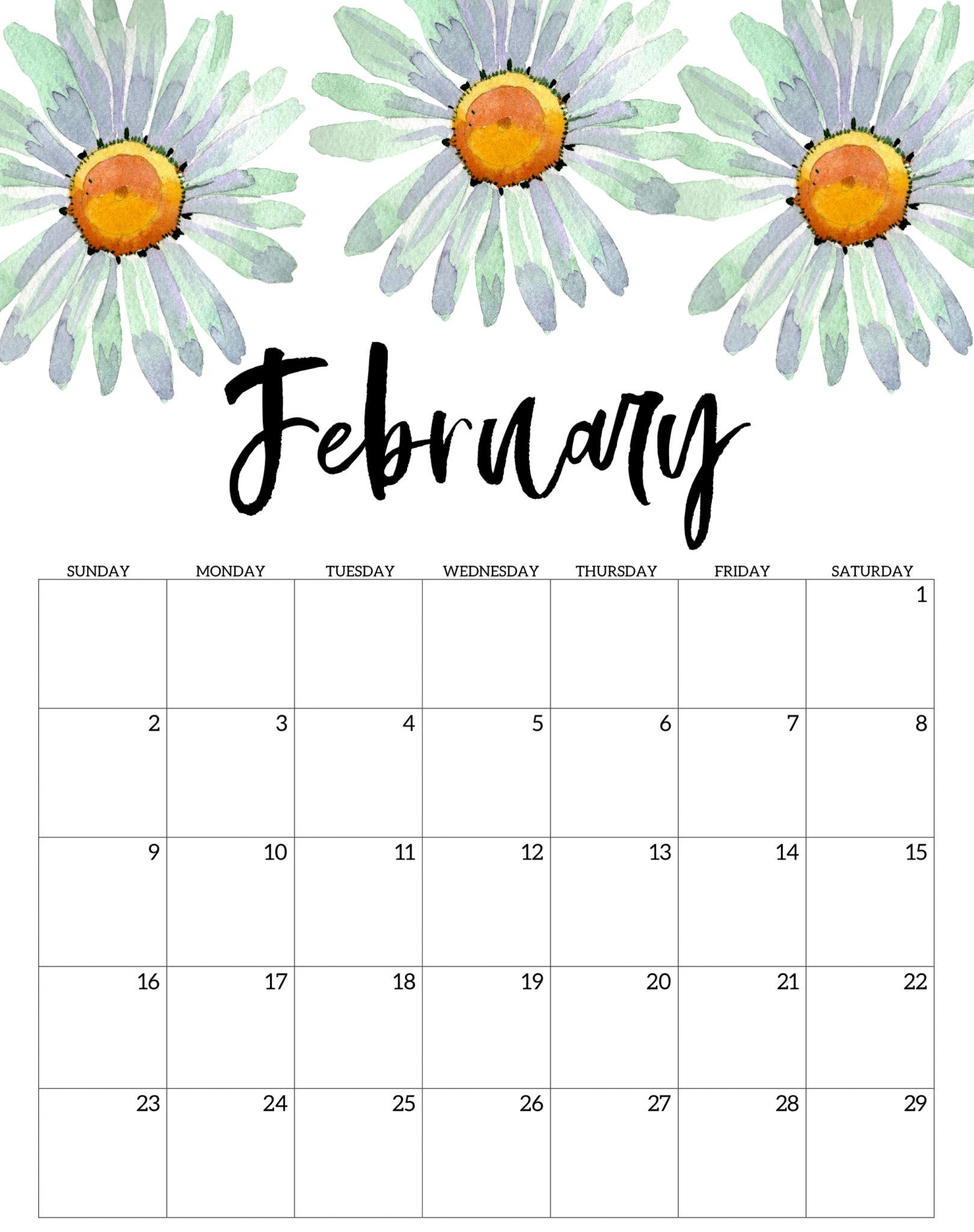 Share share tweet share pin stickii club is a monthly subscription of stickers for planner. Floral February 2020 Printable Calendar | Print calendar ...