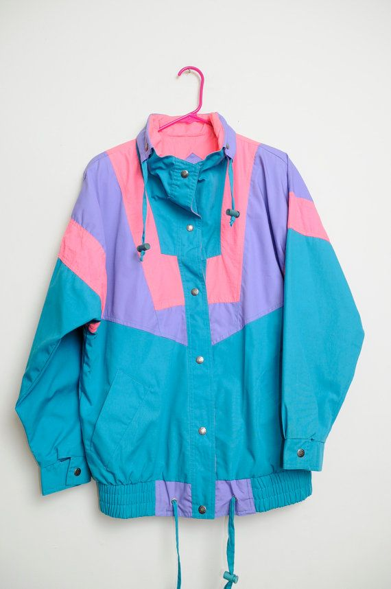 6233481d087b3 Vintage 80s/90s Bright Colored 90s Ski Vibes Color Block Button Up  Drawstring Jacket Unisex