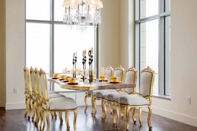 #Glam Decor And #gold Trim Fancy Dining Room #chairs
