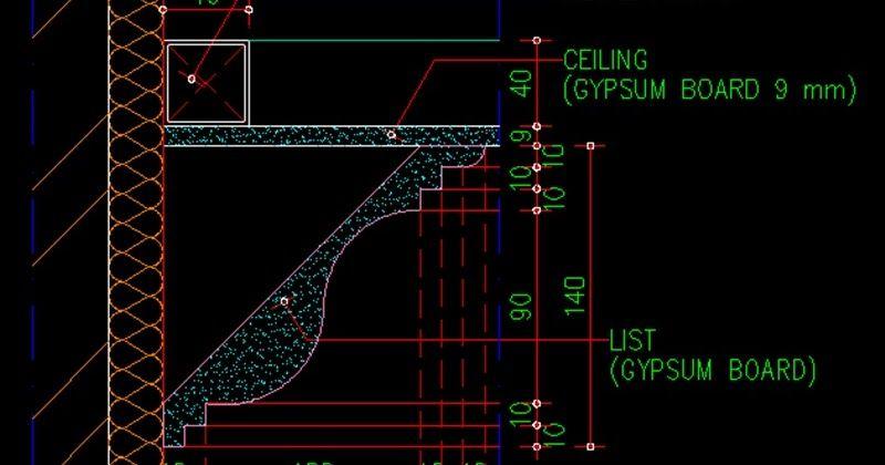 Gambar Kerja Detail Lis Profil Plafond File Dwg Autocad Atap Gedung