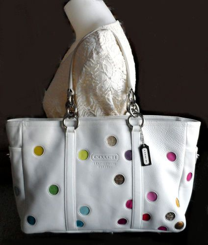 532ffb23b0 Coach White Leather Multi Polka Dots Large Gallery Tote Bag Purse 3678 RARE