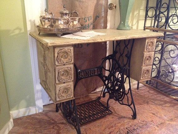 Antique Cottage Painted Singer Sewing Table