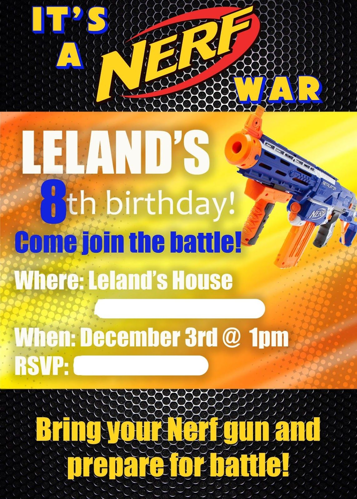 Nerf gun birthday party invitation nerf pinterest party my son chose to have a nerf gun themed birthday party stopboris Gallery