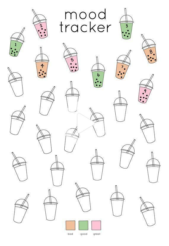 Bubble Tea Mood Tracker Printable for Journal | Bullet journal mood tr