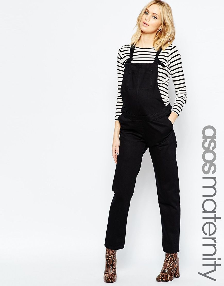 cd1454b021b ASOS Maternity Classic Denim Overall With Tie Straps