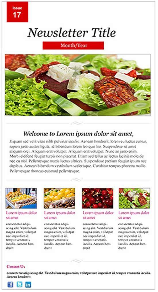Restaurant Newsletter Template Newsletter Templates Pinterest - free email newsletter templates word