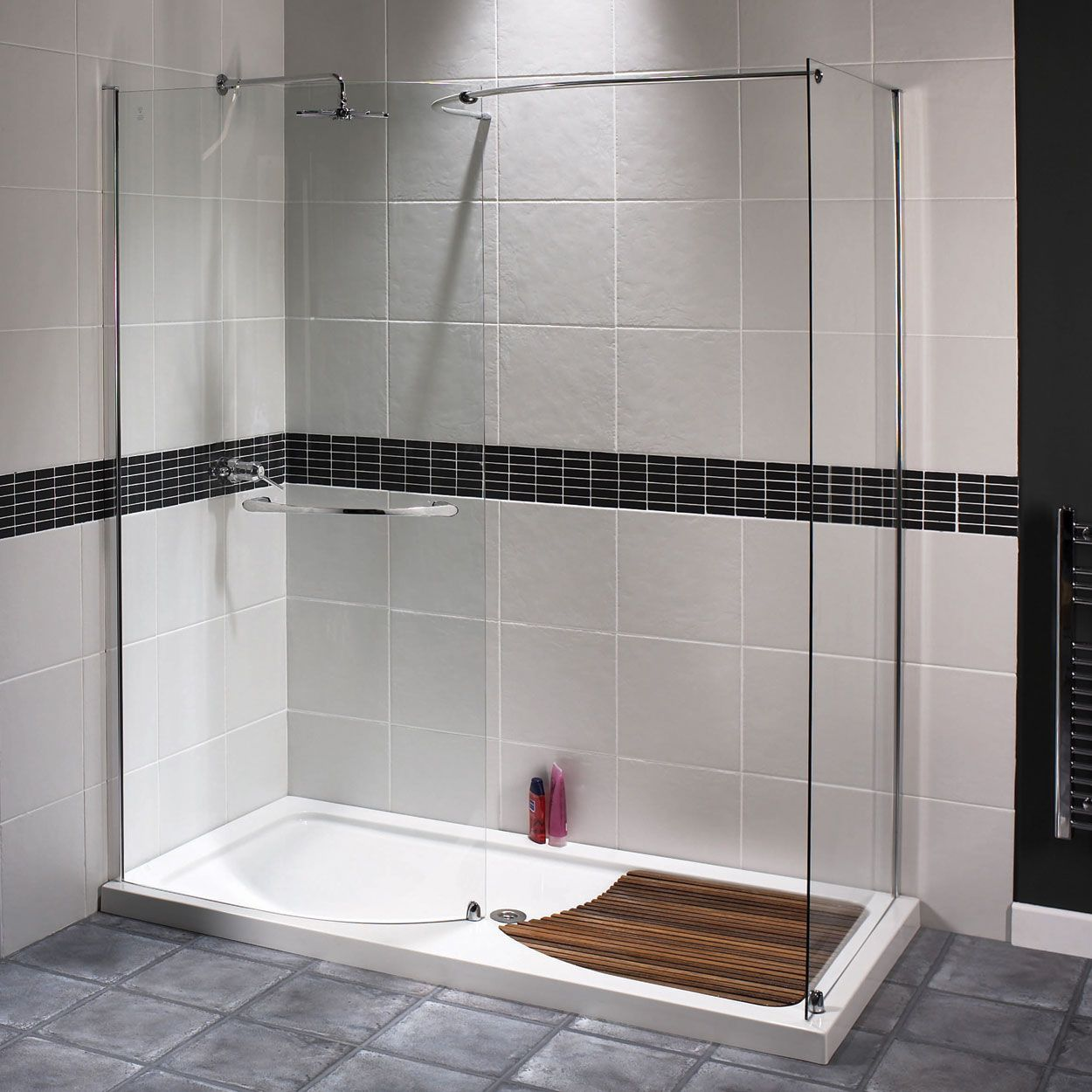 Walk In Shower Cubicles Part - 48: Aqualux AquaSpace Walk-In Shower Enclosure, 1400mm X 900mm Wide, Silver  Frame,