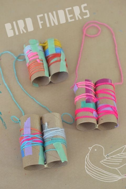 DIY craft idea for nature walks. Kids make this simple binocular craft with yarn and colored tape