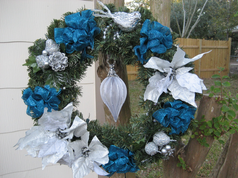 Blue & Silver Light Up Christmas Wreath