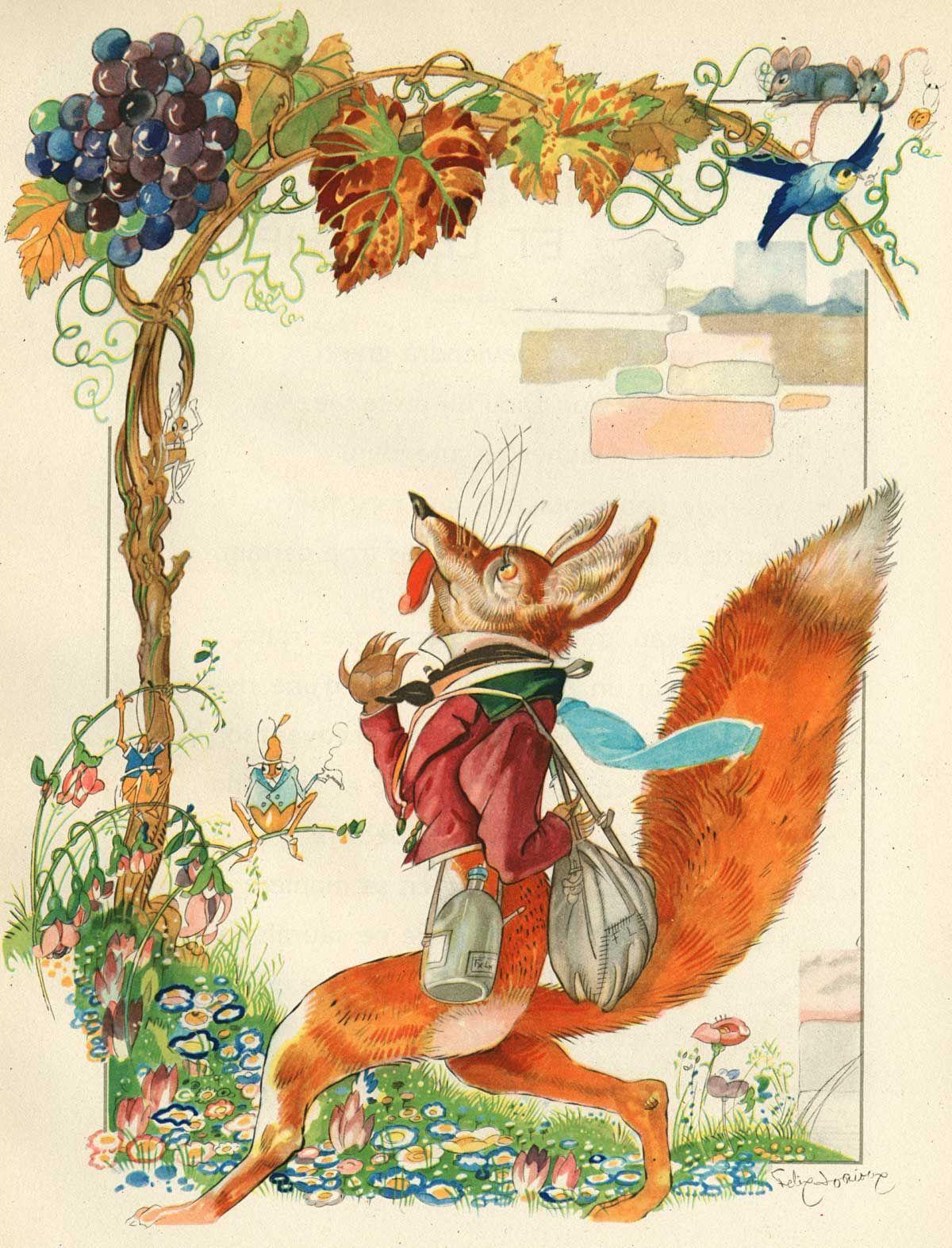 Felix lorioux illustration pour la fable le renard et les raisins de jean de lafontaine - Le renard et la cigogne dessin ...