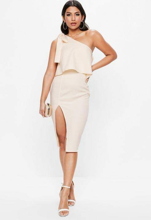 fc1719e1e9b7 Missguided Nude One Shoulder Bow Sleeve Midi Dress Elegant Midi Dresses