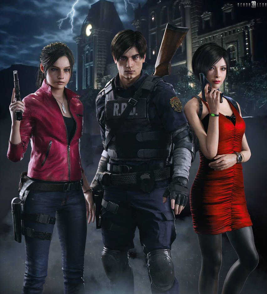 Re2 Remake Claire X Leon X Ada By Demonleon3d Resident Evil