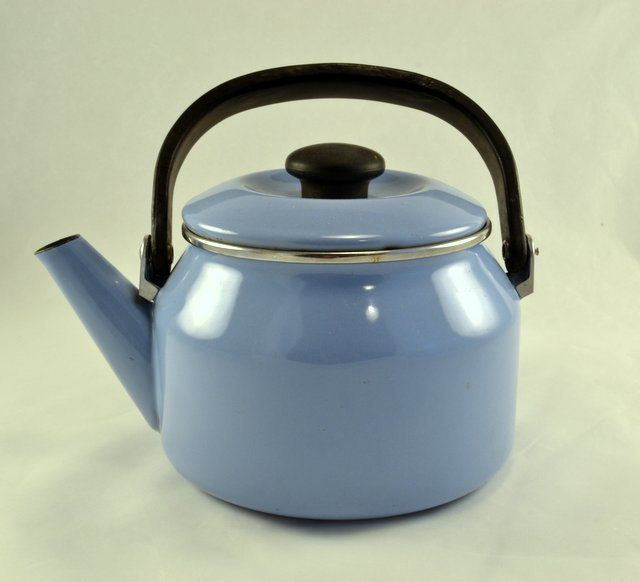 New To Chicmousevintage On Etsy Blue Enamelware Teapot Or Graniteware Tea Kettle Wood Stove Ready 25 00 Usd Tea Kettle Enamelware Tea Pots