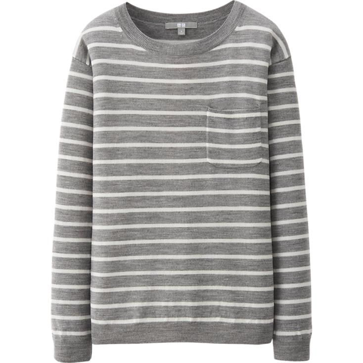 WOMEN EXTRA FINE MERINO STRIPED SWEATER | UNIQLO | Fashion ...