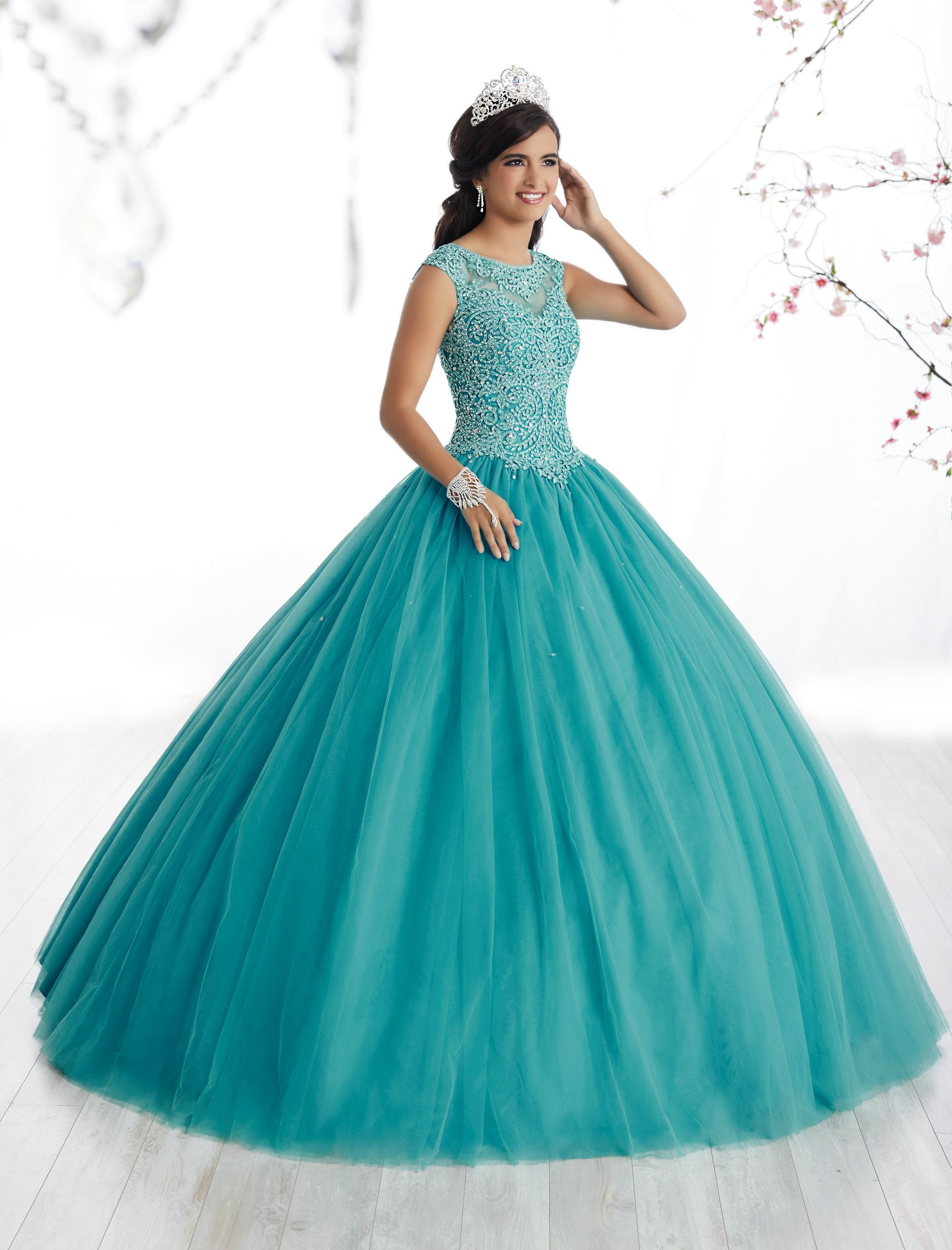 Illusion A-line Quinceanera Dress by Fiesta Gowns 56329 | Vestidos ...