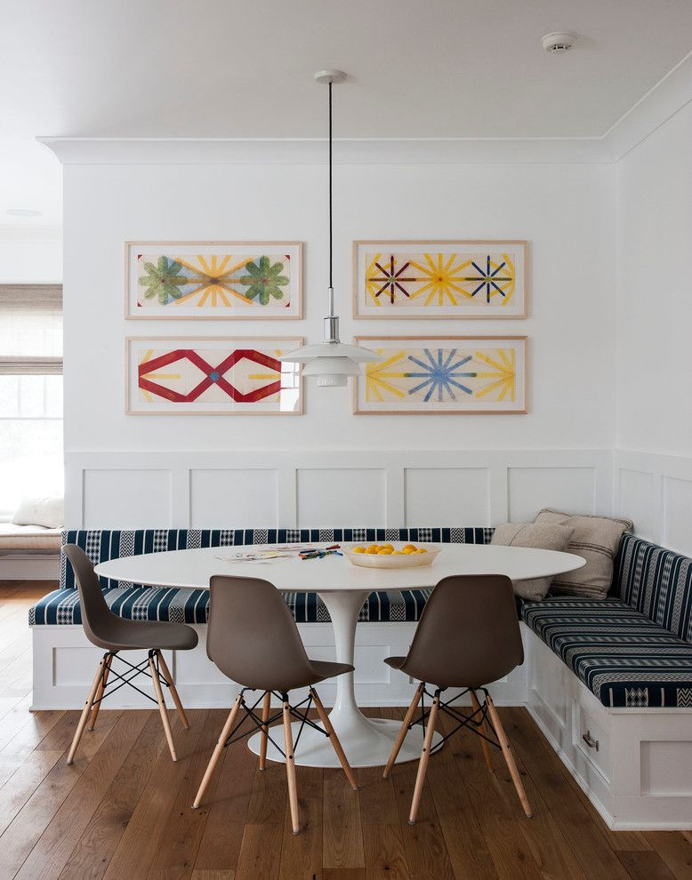 Saarinen Table Dining Room Transitional With Abstract Art