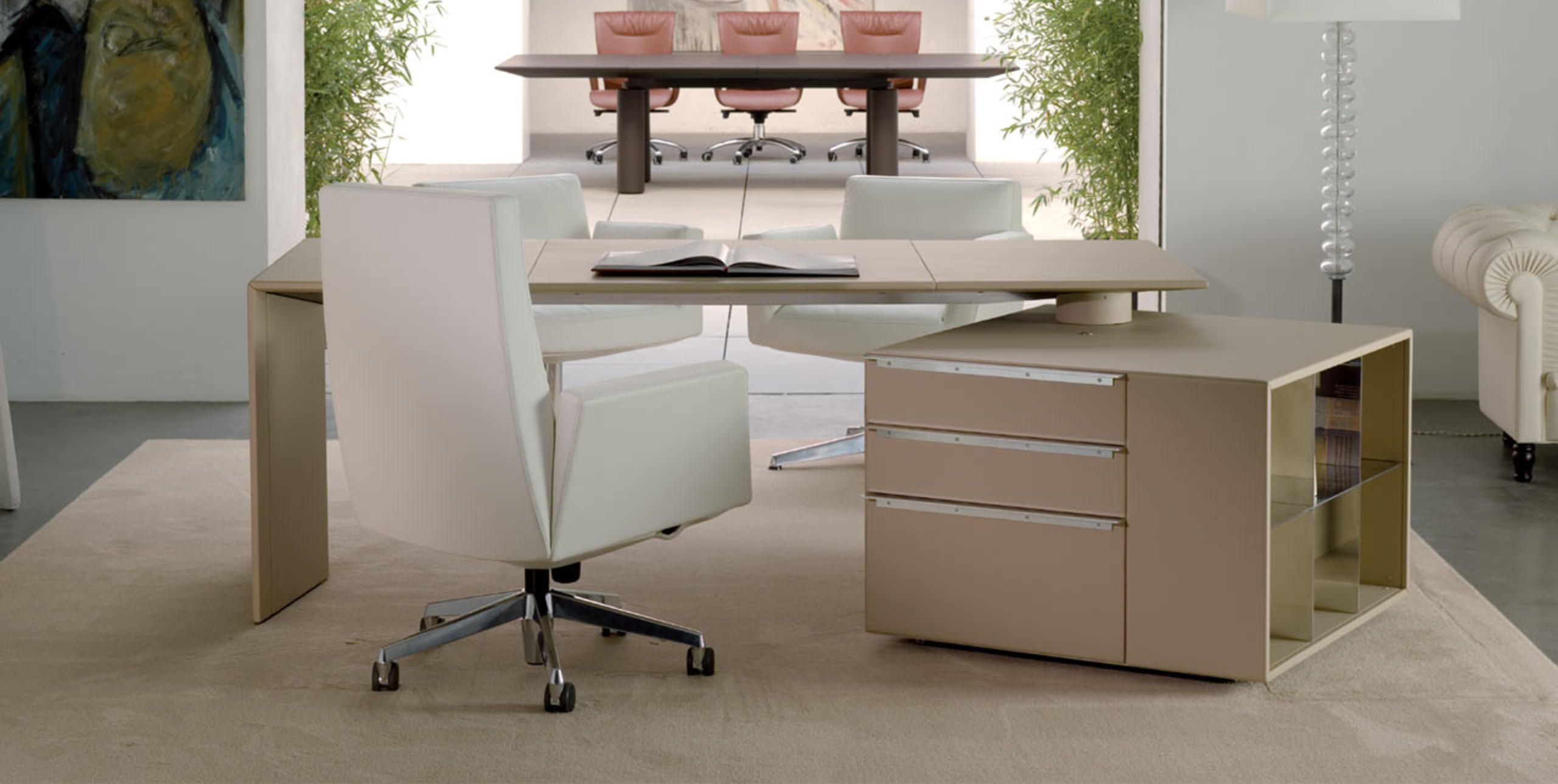 ceo cube desk by poltrona frau  design lella  massimo  - discover all the information about the product wooden desk  aluminum leather  contemporary c by lella  massimo vignelli  poltrona frau andfind where
